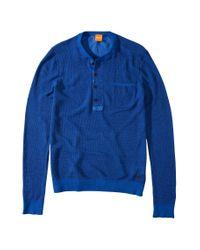 BOSS Orange Blue Linen Sweater 'Kronos' for men