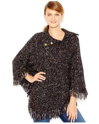 Kensie | Black Fringe-detail Sweater Poncho | Lyst