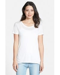 Halogen - White Lightweight High/low Seamed Back Tee - Lyst