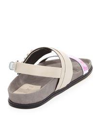 L.A.M.B. White Bradyn Flat Sandal