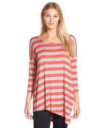 Bobeau | Pink Stripe Asymmetrical Tee | Lyst