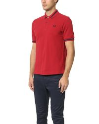 Fred Perry Red Single Tipped Shirt for men
