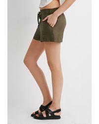 Forever 21 - Green Life In Progress Linen-blend Drawstring Shorts - Lyst