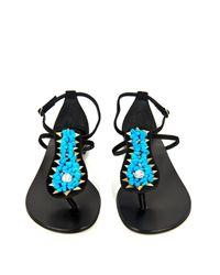Giuseppe Zanotti Blue Stone-Embellished Suede Sandals