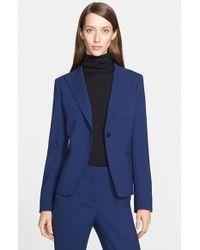 Max Mara Blue 'Marus' One-Button Stretch Wool Jacket