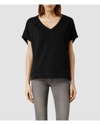 AllSaints - Black Tri Sweatshirt - Lyst