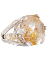 Stephen Dweck Metallic Silver Pyrite and Quartz Ring