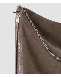 AllSaints | Brown Fleur De Lis Chain Shoulder Hobo | Lyst