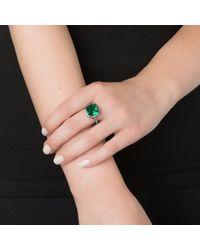 Kenneth Jay Lane | Green Pave Trim Cushion Cut Emerald Ring | Lyst