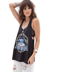 Forever 21 - Black Pink Floyd Cutout Racerback Tank - Lyst