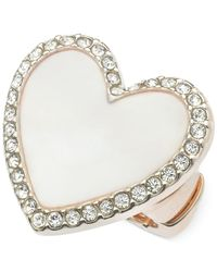 Guess - Pink Rose Gold-Tone Pavé Mother-Of-Pearl Heart Stretch Ring - Lyst