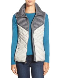 MICHAEL Michael Kors | Gray Two-tone Down Vest | Lyst