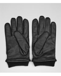 Reiss | Black Penfold Leather Cuffed Gloves for Men | Lyst
