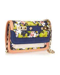 MSGM Multicolor Floral-Print Leather Shoulder Bag