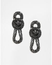 ASOS | Metallic Double Box Knot Earrings | Lyst