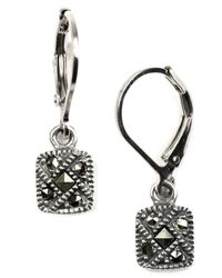 Judith Jack | Metallic Sterling Silver Marcasite Square Drop Earrings | Lyst