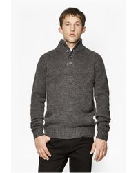 French Connection | Gray Island Placket Jumper for Men | Lyst