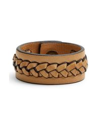 Frye - Natural 'jenny' Braided Leather Bracelet - Lyst