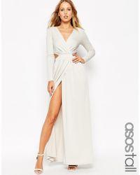 ASOS | Gray Drape Plunge Maxi Dress - Grey | Lyst