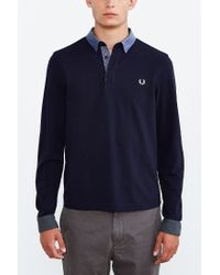 Fred Perry - Black Woven Trim Polo Shirt for Men - Lyst