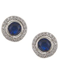 Carolee | The Elyse Royal Blue Round Button Pierced Stud Earrings | Lyst