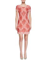 Oscar de la Renta - Multicolor Short-Sleeve Floral Tweed Sheath Dress - Lyst