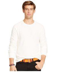 Polo Ralph Lauren - White Waffle-Knit Crew-Neck Shirt for Men - Lyst