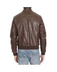 Jeckerson | Brown Down Jacket Bomber Leather With Patches for Men | Lyst