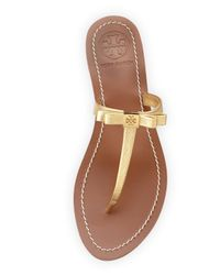 Tory Burch Metallic Leighanne Bow Thong Sandal Gold