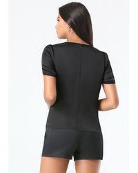 Bebe Black Petal Sleeve Top