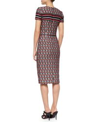 Oscar de la Renta - Red Short-sleeve Check Tweed Sheath Dress - Lyst