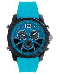 Sean John Blue Men'S Analog-Digital Turquoise Silicone Strap Watch 55X49Mm 10021790 for men
