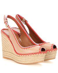 Valentino Natural Leather Peep-toe Espadrille Wedge Sandals