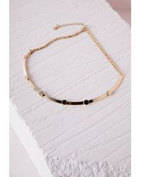 Missguided - Metallic Thin Bead Detail Choker Gold - Lyst
