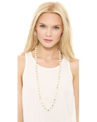 Tory Burch | Metallic Tilde Long Necklace Ivory Pearlshiny Brass | Lyst