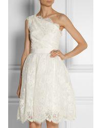 Marchesa - White One-Shoulder Embellished Tulle Dress - Lyst