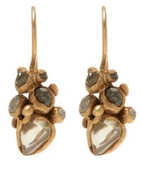 Ruth Tomlinson | Metallic Gold Raw Diamond Cluster Drop Earrings | Lyst