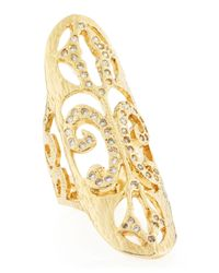 Devon Leigh - Metallic Gold Ovalface Pave Scroll Ring - Lyst