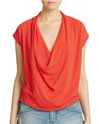 Free People | Red Fantasy Jersey Cowl Tee | Lyst
