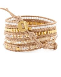 Chan Luu - Brown Natural Mix Gold Wrap Bracelet On Beige Leather - Lyst