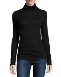 Neiman Marcus | Black Cotton/cashmere Long-sleeve Turtleneck Top | Lyst