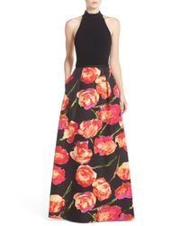 THEIA | Multicolor Floral Print Cotton Blend Ballgown | Lyst