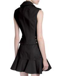 Givenchy - Black Zip Leather Moto Vest - Lyst