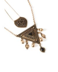 Forever 21 - Black Mixed Pendant Layered Necklace - Lyst