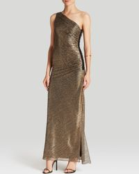 Laundry by Shelli Segal Gown - One Shoulder Metallic Foil Knit