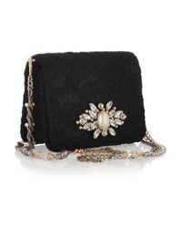 Dolce & Gabbana | Black Karlie Small Embellished Lace and Satin Shoulder Bag | Lyst