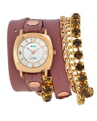 La Mer Collections - Pink Leather Wrap Charm Watch - Lyst