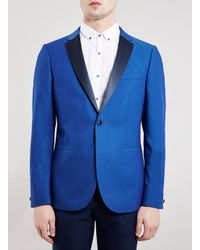 TOPMAN | Premium Cobalt Blue Skinny Fit Tuxedo Jacket for Men | Lyst