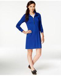 G.H. Bass & Co. | Blue Half-zip Pullover Dress | Lyst