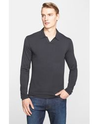 Armani | Gray Johnny Collar Jersey Polo for Men | Lyst